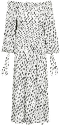 Saks Potts White Logo-print Matte-satin Midi Dress