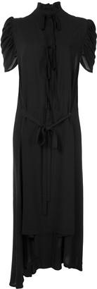 Ann Demeulemeester Ruffled Neck Asymmetric Dress