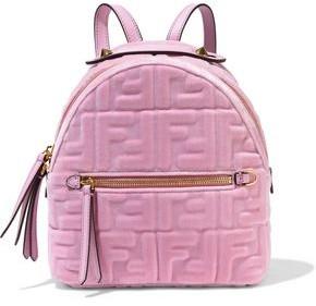Fendi Zaino Mini Logo-embossed Cotton-velvet Backpack