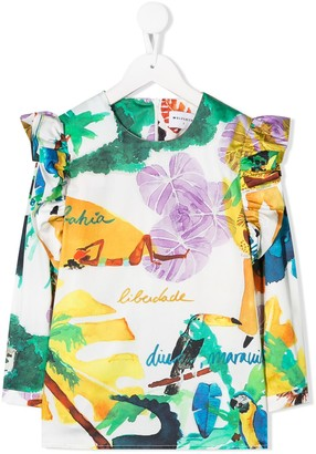 Wolf & Rita Ruffled Printed Blouse