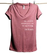 Thread Tank Women's Tee Shirts Heather - Heather Rouge 'In a World Where You Can Be Anything' V-Neck Tee - Women