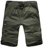 MedzRE Men's Summer Elastic Waist Baggy Cotton Cargo Shorts