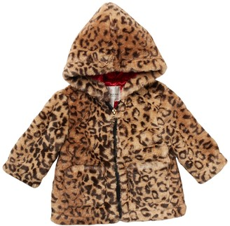 Urban Republic Leopard Print Faux Fur Hoodie (Baby & Toddler Girls)
