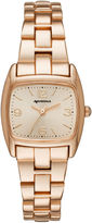 Arizona Womens Rose Gold Tone Rectangular Dial Bracelet Watch