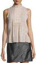 Joie Raffe Lace-Inset Sleeveless Silk Top