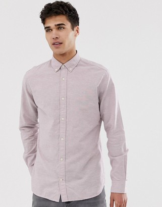 Jack and Jones Long Sleeve Linen Mix Shirt In Slim Fit-Pink