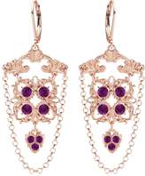 24K Pink Gold Plated over .925 Sterling Silver Earrings by Lucia Costin with Cute Square Shaped Ornaments and Swarovski Crystals, Adorned with 3 Dangle Stones and Suspended Chains; Handmade in USA