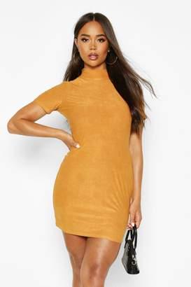 boohoo High Neck Suede Bodycon Mini Dress