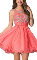Prom Queen Women's Short Tiered Open Back Prom Sequins Homecoming Dress