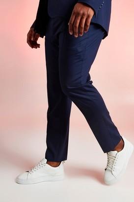 boohoo Mens Navy Big & Tall Skinny Fit Suit Trouser, Navy