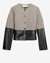Derek Lam 10 Crosby Leather Combo Jacquard Jacket