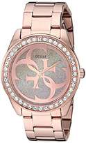 GUESS Rose Gold-Tone Stainless Steel Logo Bracelet Watch with Gradient Pink Glitter Dial. Color: Rose Gold-Tone (Model: U1201L3)
