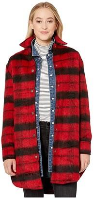 BB Dakota Wild Woolly Brushed Plaid Coat (Bright Red) Women's Coat