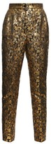 Dolce & Gabbana High-rise Floral-brocade Trousers - Womens - Gold Multi