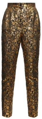Dolce & Gabbana High-rise Floral-brocade Trousers - Gold Multi