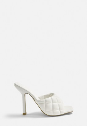 Missguided White Quilted High Heel Mule