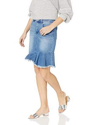 Tribal Women's Jean Skirt with Frayed Frilled Hem