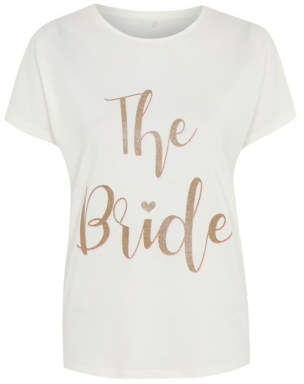 George White Glitter Bride Slogan Pyjama Top