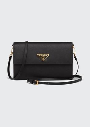 Prada Saffiano Leather Wallet with Shoulder Strap
