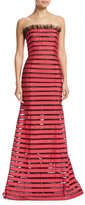 Oscar de la Renta Strapless Striped Illusion Gown, Black Pattern