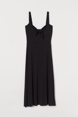 H&M Tie-detail Jersey Dress - Black