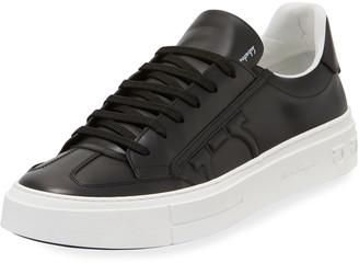 Salvatore Ferragamo Men's Borg Leather Low-Top Sneakers, Black