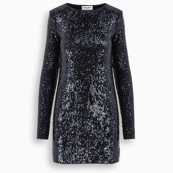 Saint Laurent Blue sequins long sleeves short dress