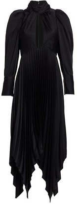 KHAITE Bryn Asymmetric Pleated Silk Cocktail Dress