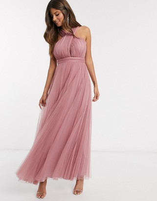 ASOS DESIGN halter cross over front tulle maxi dress in rose