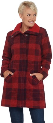 Denim & Co. Plaid Print Sherpa Lined Fleece Zip & Snap Front Coat