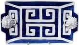 One Kings Lane Vintage Italian Pottery Greek Key Lions Platter - Cannery Row Home - ultramarine blue, white