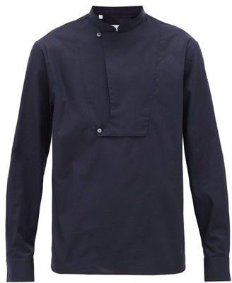Lanvin Concealed-placket Cotton-poplin Shirt - Mens - Navy