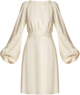 Chloé Waist-tie blouson-sleeve cady dress