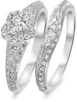 My Trio Rings 1 1/10 CT. T.W. Diamond Women's Bridal Wedding Ring Set 10K White Gold