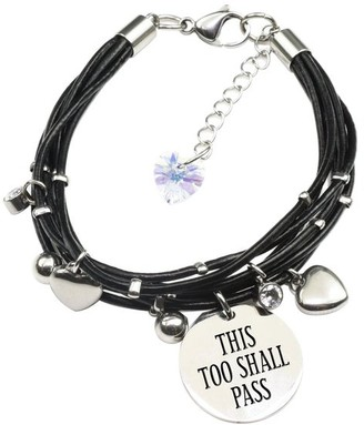 Pink Box Genuine Leather Bracelet made with Crystals from Swarovski - This too shall pass