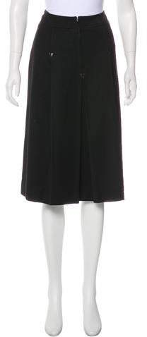 Celine Leather-Accented Wool Skirt