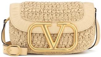 Valentino Supervee Medium raffia crossbody bag