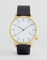 Komono Winston Regal Leather Watch In Black/Gold