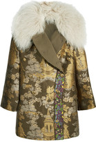 Etro Reversible Embroidered Shearling-trimmed Brocade Jacket - Gold