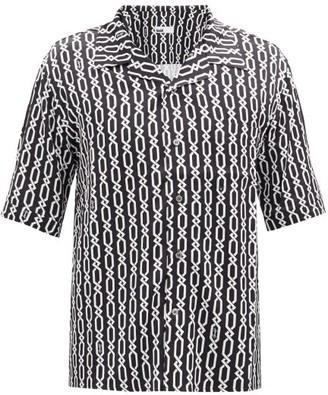GmbH Chain-print Cuban-collar Short-sleeved Shirt - Black White