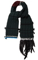 Prada Feather-trim wool scarf