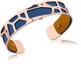 Les Georgettes Small Giraffe Rose Gold Plated Bracelet w//Navy Blue and Beige Reversible Leather Strap