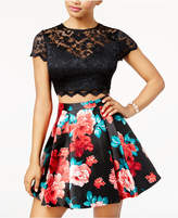 B. Darlin Juniors' 2-Pc. Lace Printed Fit & Flare Dress, A Macy's Exclusive Style