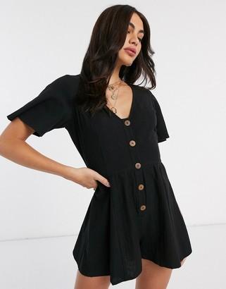 ASOS DESIGN linen swing romper with frill sleeve in black