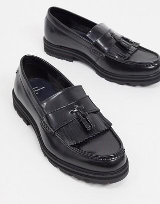 Ben Sherman chunky tassel loafers in black high shine leather