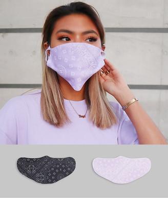 ASOS DESIGN unisex 2 pack face covering in bandana print
