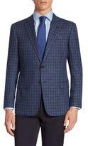 Armani Collezioni Plaid Wool Blend Jacket
