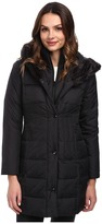 Larry Levine 3/4 Length Down Coat w/ Soft Faux Fur Trim