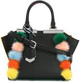 Fendi pom pom mini 3Jours crossbody bag - women - Leather/Rabbit Fur - One Size