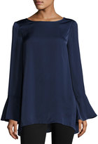 Max Studio Satin Bell-Sleeve Blouse, Navy